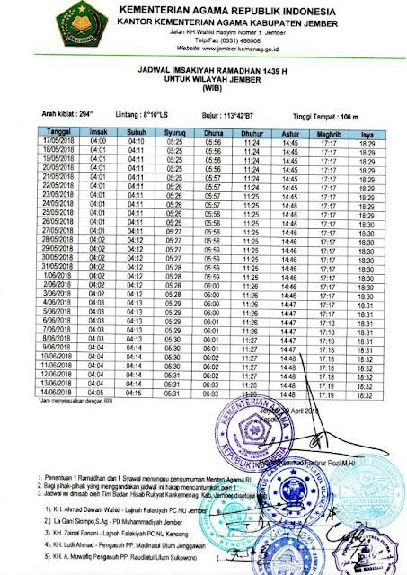 Jadwal imsakiyah Ramadhan 1439 H/ 2018 M untuk Wilayah Kab. Jember dan sekitarnya