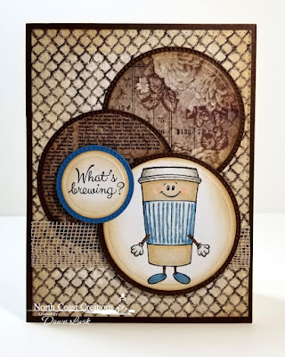 North Coast Creations Stamp Set: Thanks A Latte, Paper Collection: Vintage Ephemera, Custom Dies: Pierced Rectangles Circles, Pierced Circles
