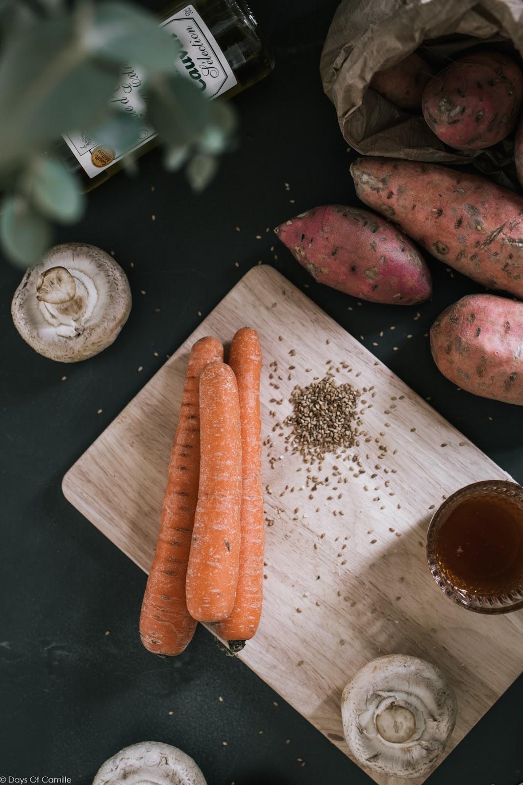 Légumes rôtis au sésame et épices