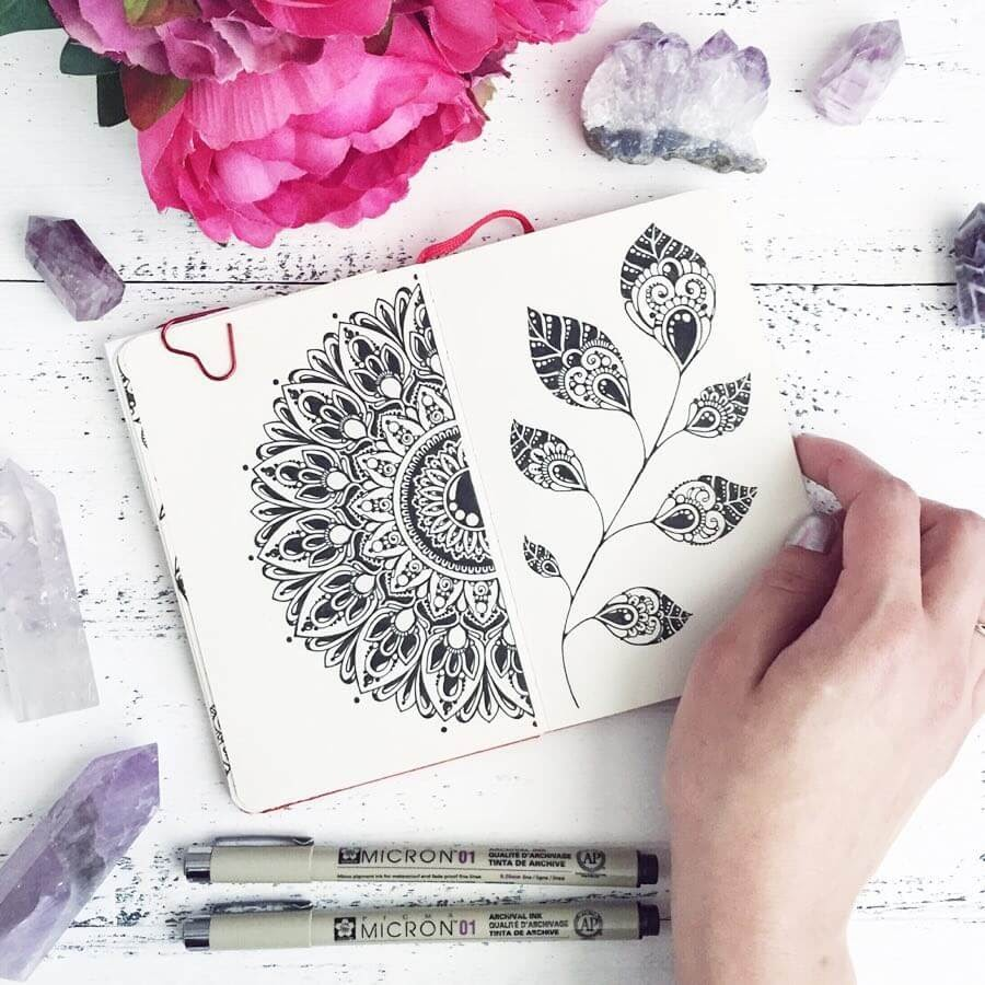01-Ksenya-Gromova-Ink-Mandala-and-Flower-Drawings-www-designstack-co