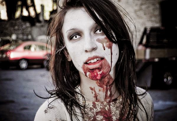 Halloween Gorgeous Face Makeup with Blood