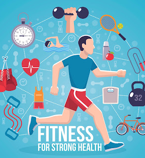 Fitness poster, illustrated.  Man exercising and images of excercise icons.