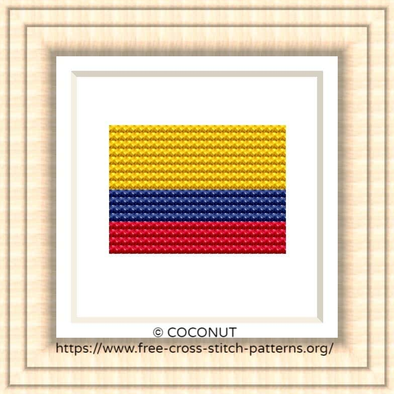 NATIONAL FLAG OF COLOMBIA CROSS STITCH CHART