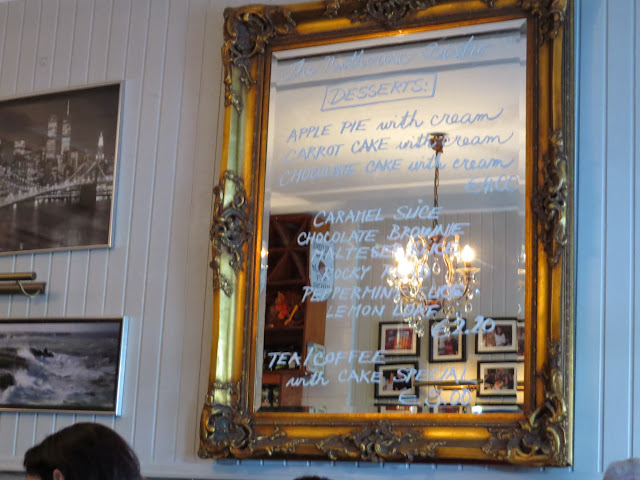 Dessert menu on a mirror at the Nuthouse Bistro in Killester