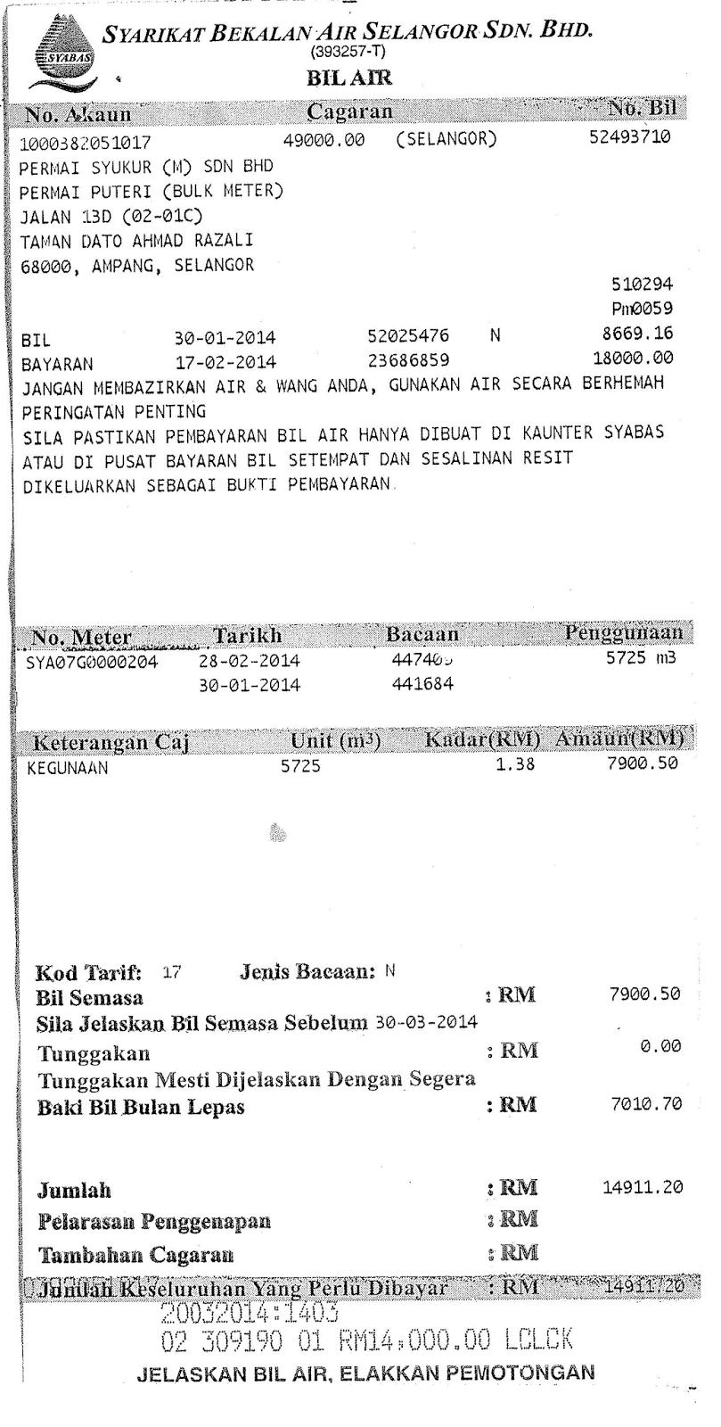 Permai Puteri Pantagraph: February 2014 Syabas Bill