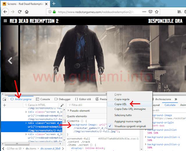 Console Firefox sezione Analisi pagina Questo elemento
