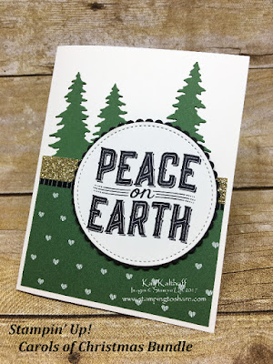 Early Release! Carols of Christmas Bundle from Stampin' Up! Easy and Elegant Card by Kay Kalthoff at Stamping to Share.