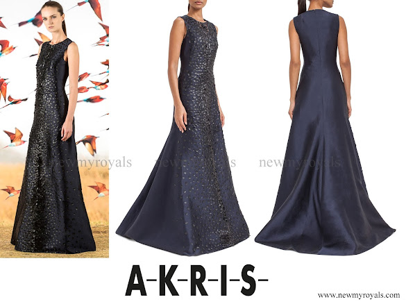 Princess Charlene wore AKRIS Sleeveless Embellished-Front Gown
