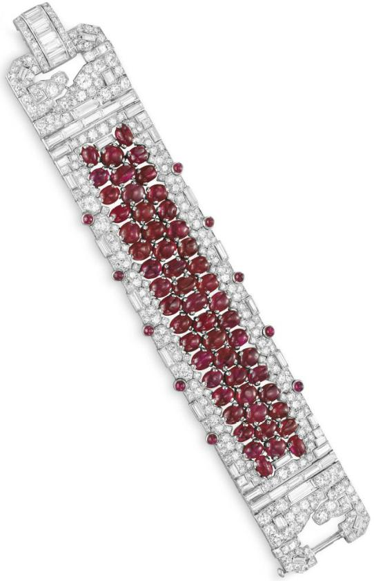 Art Deco ruby and diamond bracelet, circa 1930. Via Diamonds in the Library.