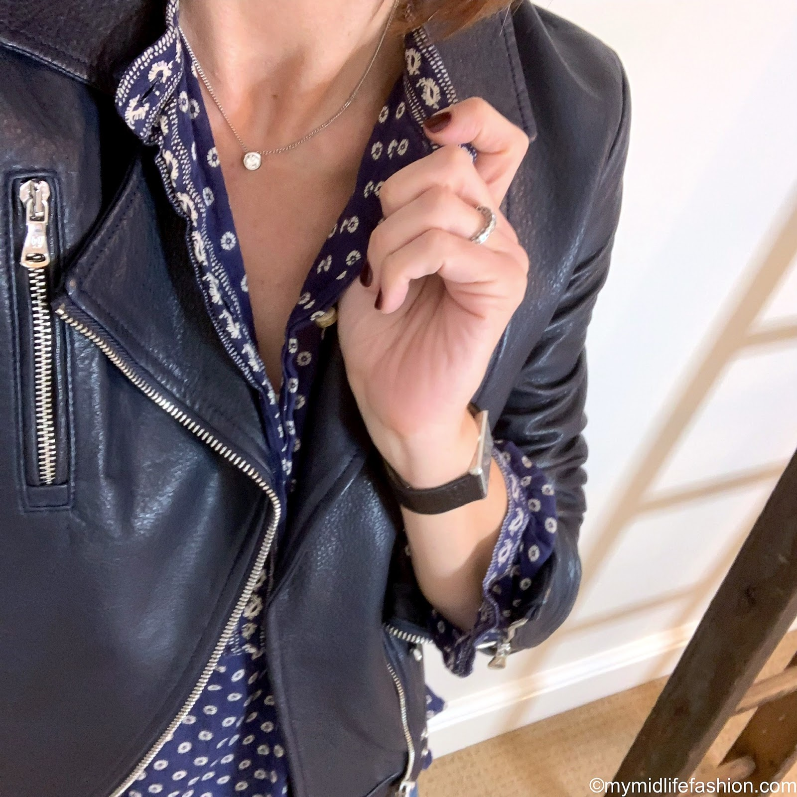 my midlife fashion, Massimo Dutti navy leather biker jacket, Isabel Marant Etoile blouse, j crew boyfriend jeans, golden goose superstar low top leather trainers