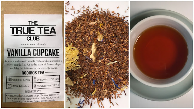 A collage of 3 pictures showing the Vanilla Cupcake tea packet, the loose tea with lots of brown leaves and a cup of tea.