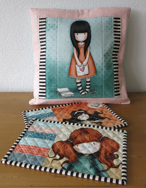 Luna Lovequilts - Quilted cushion and mug rugs made with fabric panels from Santoro Gorjuss collection