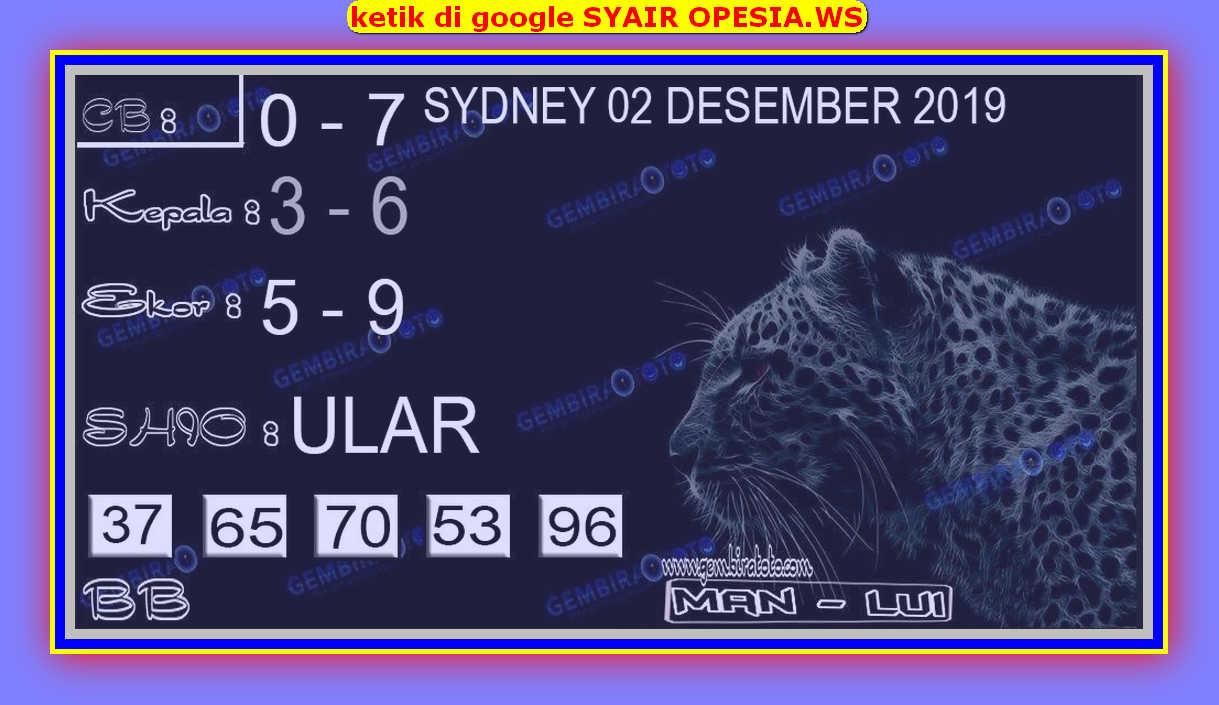 Kode syair Sydney Senin 2 Desember 2019 91