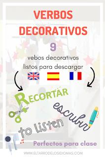 decoracion para tu clase verbos decorativos verbos útiles para clase de ele #spanishteacher #profedeele #teachmorespanish ideas decoración mfl lesson spanish gcse