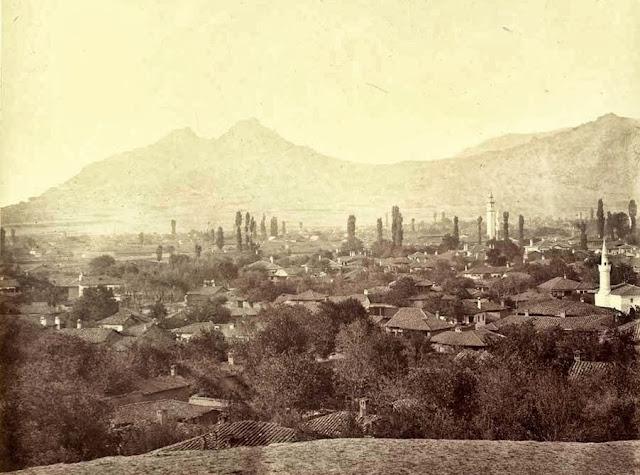 Prilep the fortress of King Marko, taken after sunset October 1863