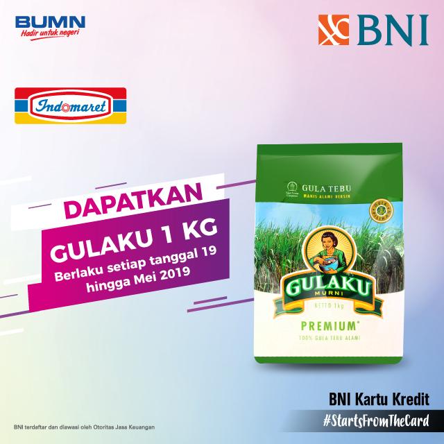 #BankBNI - #Promo Gratis 1KG Gulaku Belanja Pakai Kartu BNI (s.d 31 Mei 2019)