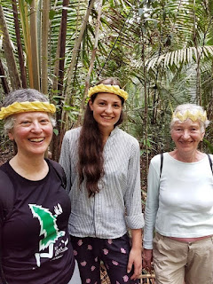 Me, Ina and Rosel wearing crowns woven from palm fronds