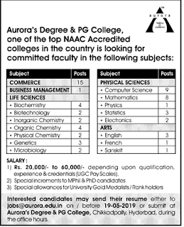 ADC Faculty Jobs in Aurora's Degree and PG College 2019 Recruitment,Hyderabad