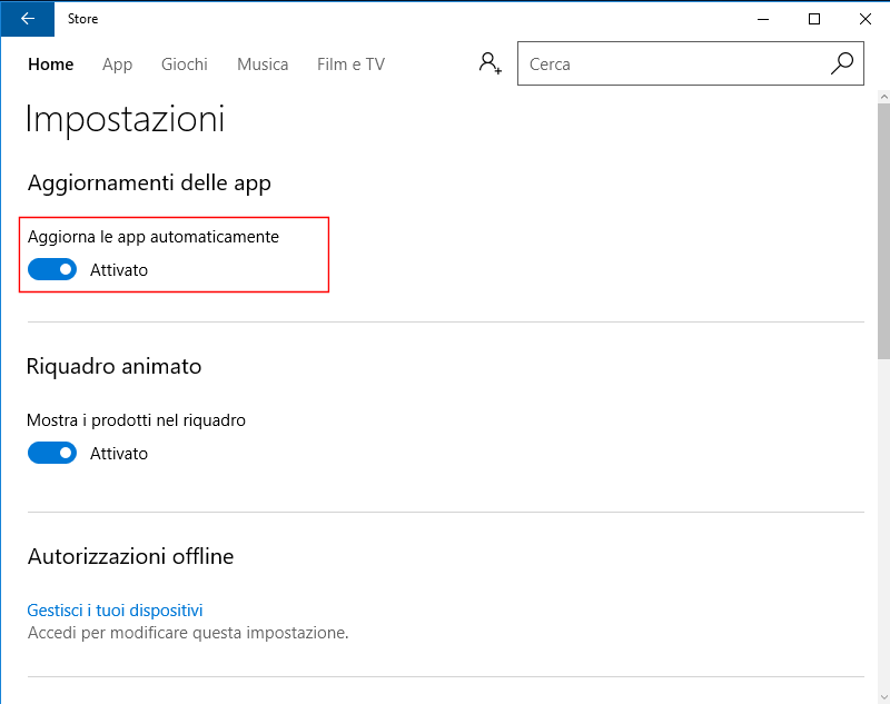 Windows 10, Disabilita aggiornamento automatico App
