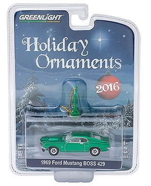 diecast 1969 ford mustang BOSS 429 holiday ornaments greenlight