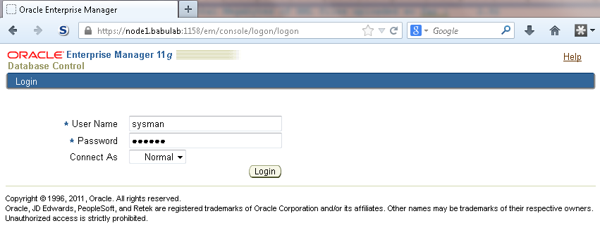 Oracle: Enable Oracle Enterprise Manager 11g Database Control
