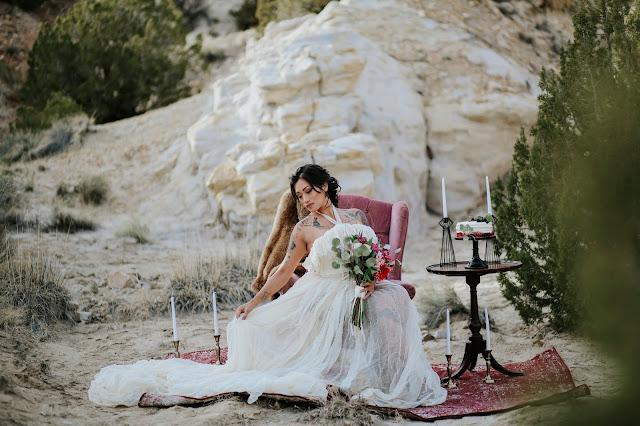beautiful brunette bride long wedding gown