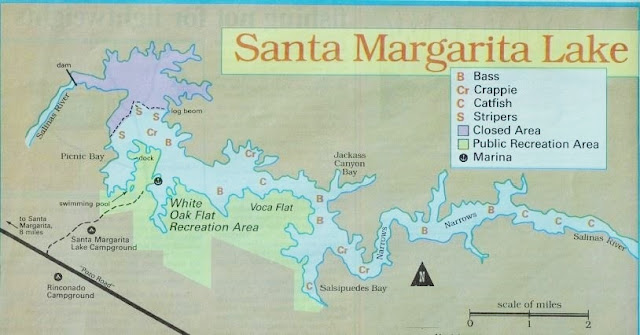 santa margarita lake fishing map and fishing report, how to fish santa margarita lake