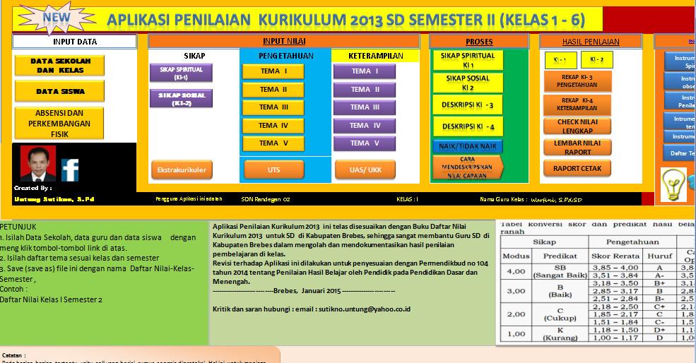 Aplikasi Penilaian SD Kelas 1 s/d 6 Kurikulum 2013 Otomatis dengan Excel (xls) Download Gratis
