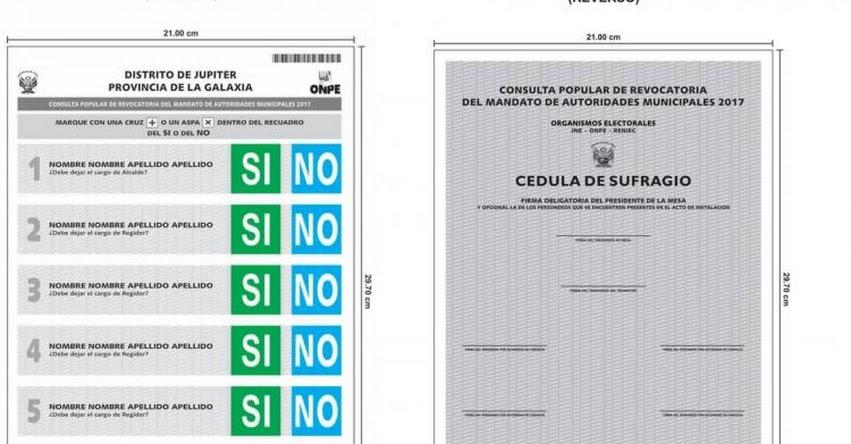 ELECCIONES 2017: ONPE publica diseño de cédula de sufragio para revocatoria del 11 de junio - www.onpe.gob.pe