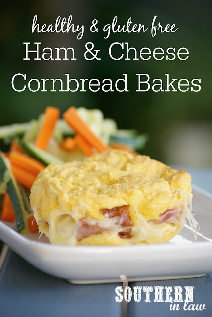 Healthy Ham and Cheese Cornbread Bakes Recipe - low fat, gluten free, healthy, stuffed cornbread recipes