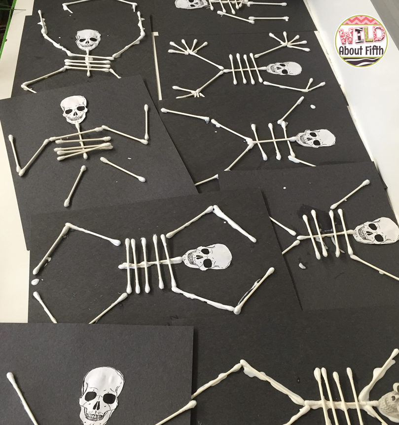 q tip skeleton craft template - planning a halloween party this week wild about fifth grade