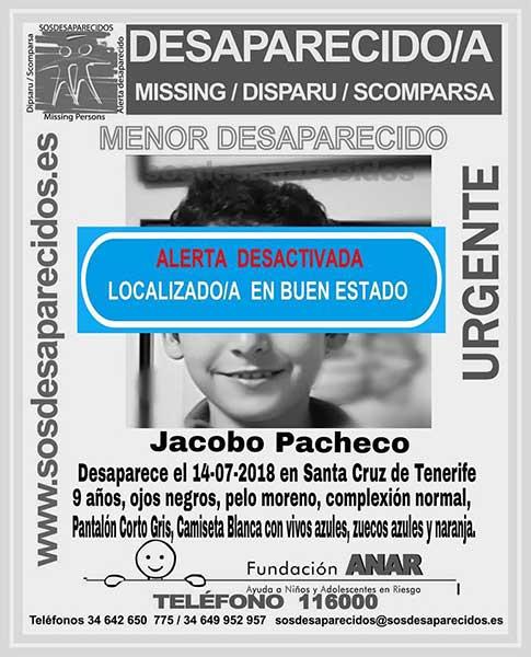 Localizan buen estado niño Jacobo  Pacheco desaparecido en Tenerife
