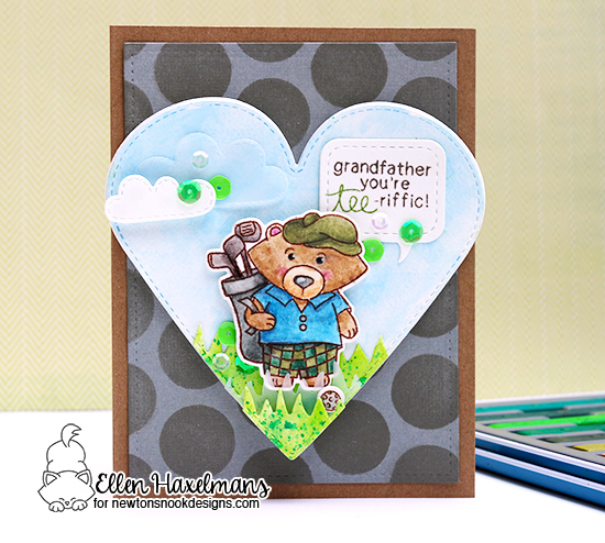Golf Card by Ellen Haxelmans | Winston's Tee Time | Golfing Bear Stamp set by Newton's Nook Designs