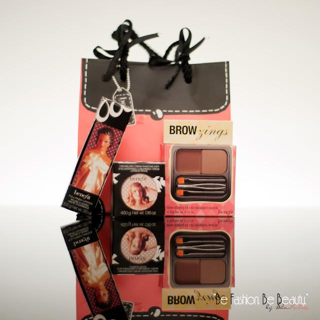 Silky-finish lipstick.Creaseless cream eyeshadow/liner.Brow zings. Kit cejas. Sombra en crema. labial marrón. Benefit.Be fashion. Be beauty.