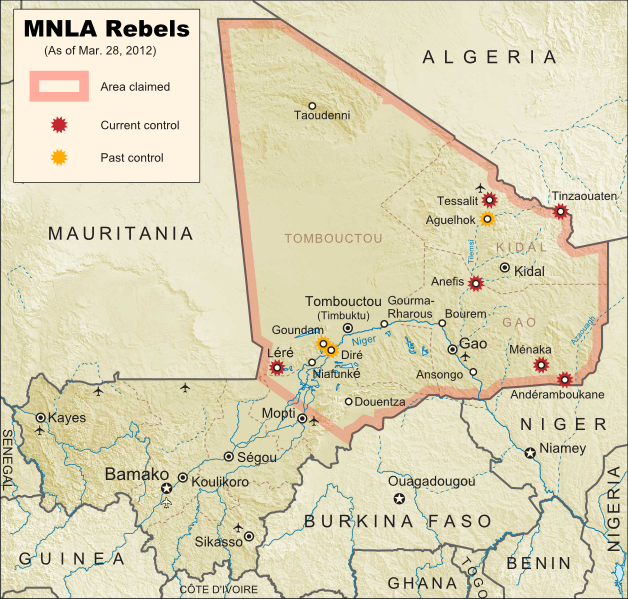 Map of Tuareg rebellion in Northern Mali, showing towns controlled by the MNLA rebel group