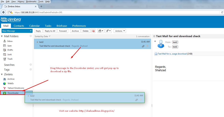 Install/Deploy Email message downloader Zimlet for  eml format in