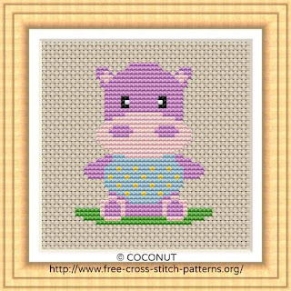 BABY HIPPO, FREE AND EASY PRINTABLE CROSS STITCH PATTERN