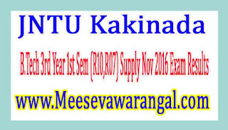 JNTU Kakinada B.Tech 3rd Year 1st Sem (R10,R07) Supply Nov 2016 Exam Results