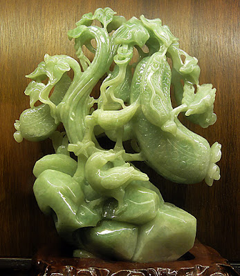 jade stone fruit sculpture