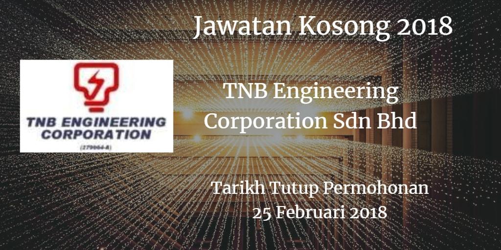 Jawatan Kosong TNB Engineering Corporation Sdn Bhd 25 Februari 2018