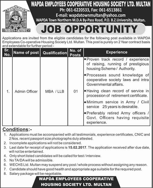 Wapda Employees Cooperative Housing Society Ltd Multan Jobs