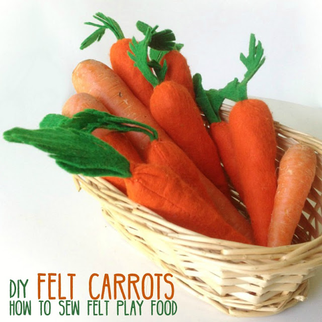 Learn how easy it is to sew felt carrots. Tutorial by Apple Green Cottage