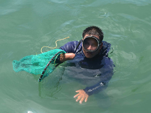 """Khi xuống biển, thợ lặn Chung chẳng khác nào """"rái cá"""""""
