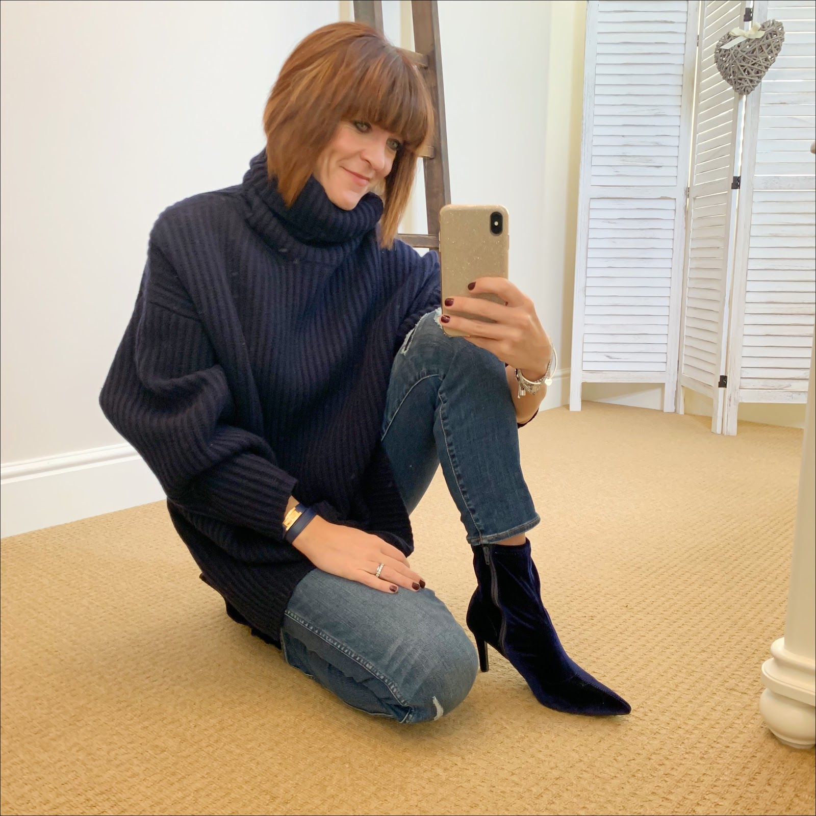 my midlife fashion, acne studios oversized wool turtleneck sweater, marks and spencer stiletto heel velvet ankle boots, j crew vintage straight jeans rip and repair