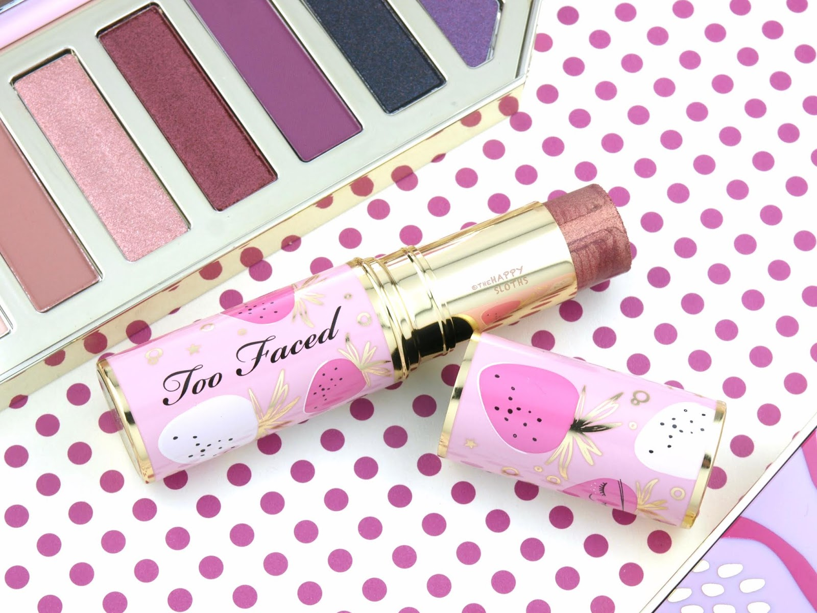 "Too Faced Tutti Frutti Collection | Frosted Fruits Highlighter Stick in ""Strawberry Sparkle"": Review and Swatches"