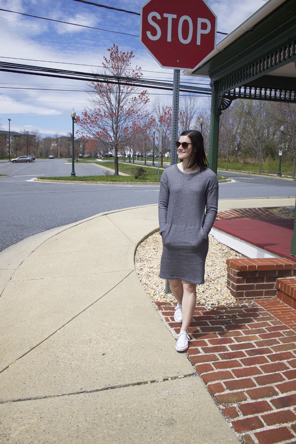 Athleisure, Joe Fresh dress, sweatshirt dress, Joe Fresh Sweatshirt dress, gray dress, Converse, Chuck Taylor's, white converse, women's converse