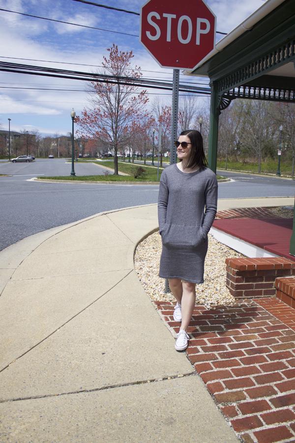 Athleisure, Joe Fresh dress, sweatshirt dress, Joe Fresh Sweatshirt dress, gray dress, Converse, Chuck Taylor's, white converse, women's converse