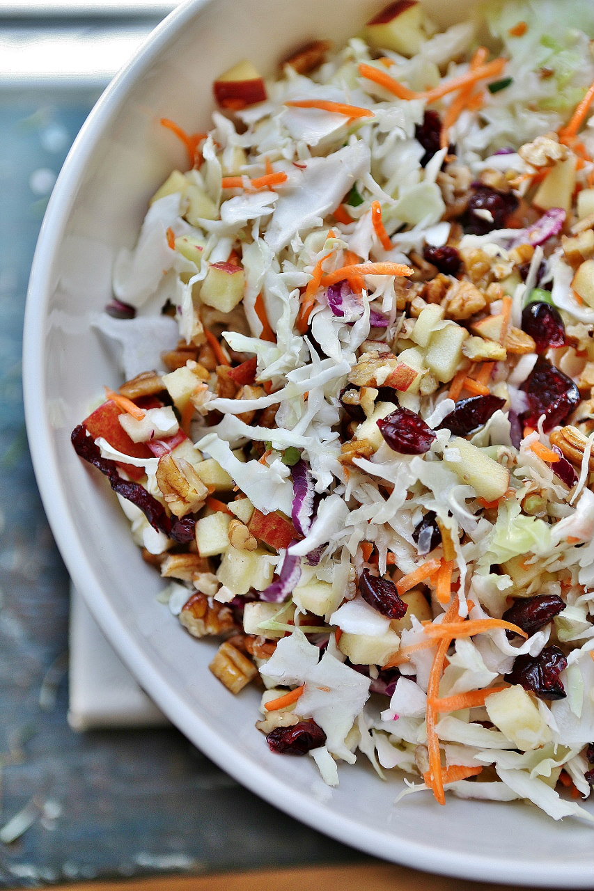 added dried cran-raisins to the apple slaw, and pecans, too.
