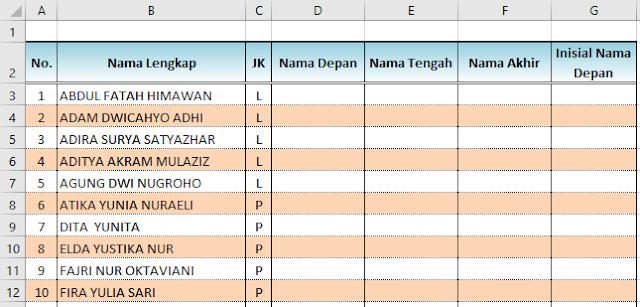 Cara Entri data di Excel secara otomatis dengan Flash Fill