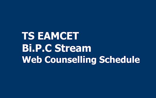 TS EAMCET 2019 Bi.P.C stream Web Options Entry, Certificates verification Schedule